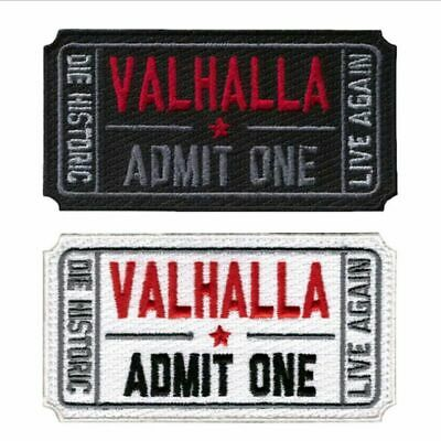 VALHALLA Admit One Movie Ticket Moral Patch Mad Skull Military Patch White Black