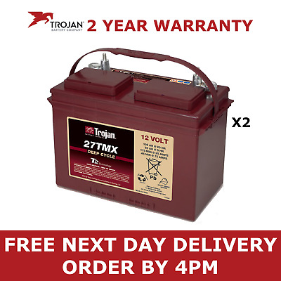 2x 12 Volt Trojan 27TMX Deep Cycle Battery - Boat Leisure Golf Buggy Narrow Boat