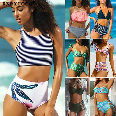 Women's Push Up Padded Bra Bikini Set High Waist Bathing Suit Swimwear Swimsuit