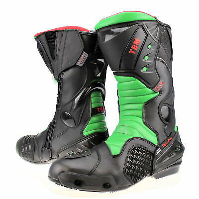 Xtrm Core Leather Motorcycle Motorbike Green Sports Armour Boots