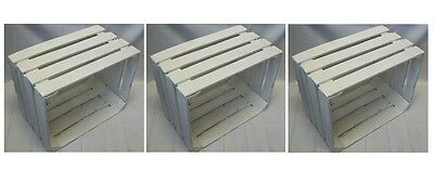3 x White Solid Vintage Wooden Apple Crates Boxes Used Painted Wedding Crates