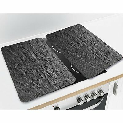 Wenko Slate 2521200500 Set of 2 Universal Hob Cover Plates Hardened Glass