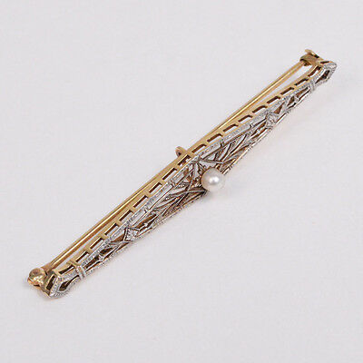 C096 Pretty Vintage 14K Yellow & White Gold brooch with Pearl 3.5g
