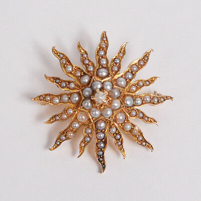 C075 Vintage BIRKS Sun shaped 15K Yellow Gold Brooch with Pearls 6.3g