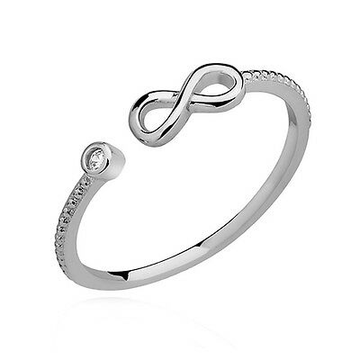 925 Sterling Silver Open infinity Ring Clear Cubic Zirconia Tear sizes J to P