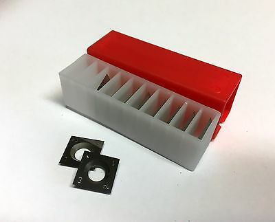 10 pces. 14 x 14 x 2.0mm, CARBIDE REVERSIBLE TURN BLADES - SPUR INSERTS