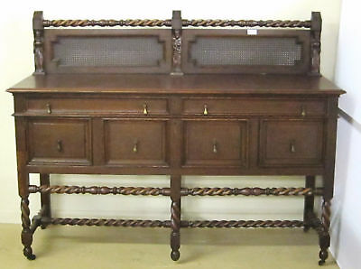 Antique Oak Sideboard Barley Twist Base
