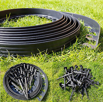 Garden Edging Lawn Edge 10m + 50 LONG STRONG Pegs Plastic Grass Border Wall