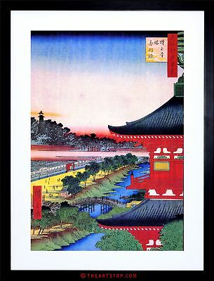 Painting Japanese Woodblock View Pagoda Red Framed Print F12X4824