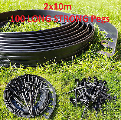 Garden Lawn Edging Plastic Garden Border 20m (2x10m) + 100 LONG STRONG Pegs