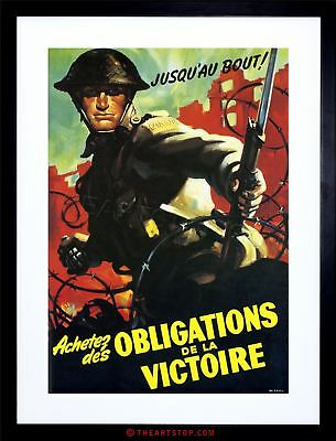 Vintage Ad War Wwii Canada Victory Soldier Grenade Framed Print F12X6095