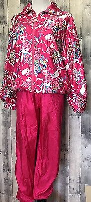 VTG Casual Isle Jogging Track Suit Nylon Petite Size m Hot Pink Athletic Wear