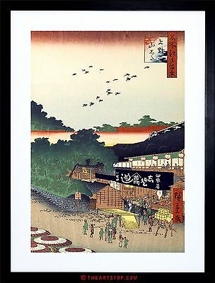 Painting Japanese Woodblock Market Japan Framed Print F12X7547