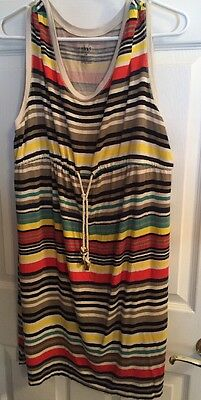 Duo Maternity Size L Casual multi-colored stripe Maternity Dress with rope belt