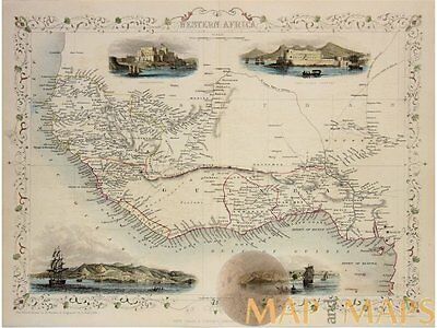 Western Africa Antique old map Gulf of Guinea Tallis 1854