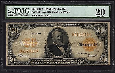 1922 $50 Fifty Dollar Gold Certificate PMG 20 VF Fr.1200 #8037864-007