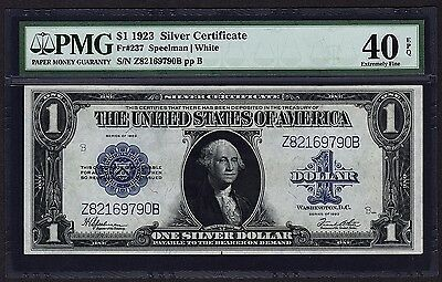 1923 $1 Silver Certificate PMG 40 EPQ Blue Seal One Dollar Bank Note Fr#237
