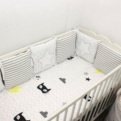 Baby Bumpers Stars Crib Tieback Pads Infant Cot Comfortable Bedding Cushion 6PCS