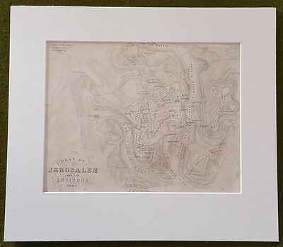 19th Century Map of Jerusalem and its Environs 1861