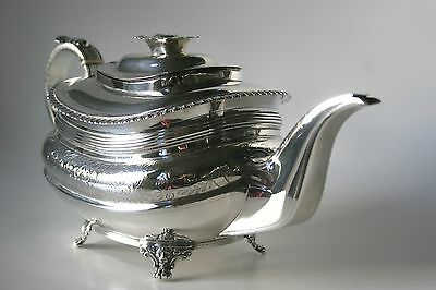 A LARGE GEORGIAN, Ldn.1816, SOLID SILVER TEA POT, ENGRAVED/REEDED LOVELY QUALITY