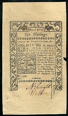 1786 10s TEN SHILLINGS STATE OF RHODE ISLAND COLONIAL CURRENCY