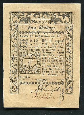 1786 5s FIVE SHILLINGS STATE OF RHODE ISLAND COLONIAL CURRENCY