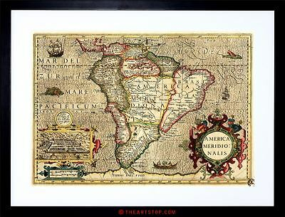 Map Antique South America Mercator Brazil Ocean Framed Print F97X3978