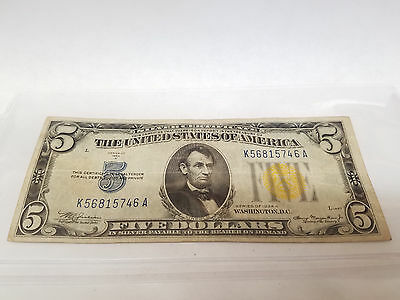 Silver Certificate North Africa U.S. $5 NOTE 5.00 1934 Yellow Seal A Very Fine