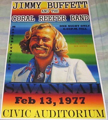 Jimmy Buffett Civic Auditorium 1977 Replica Concert Poster W/top Loader
