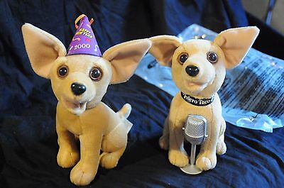 2  Talking Taco Bell Chihuahua Dogs singing How cool  Happy New Year plush works