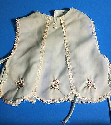 Baby Pinafore Dress Clothes Cotton Embroidery Cats Lace Vintage Sheer