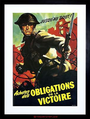 Vintage Ad War Wwii Canada Victory Soldier Grenade Framed Print F97X6095