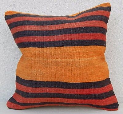 Orange Turkish Kilim Pillow Vintage Cushion Antique Pillows Sofa Art 20 X 20""
