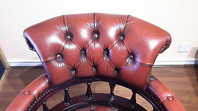 vintage chesterfield brown leather swivel office desk chair captains chair