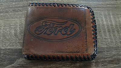 Vintage Ford Brown Leather Wallet w/Black Stitching Green Leather Inside!