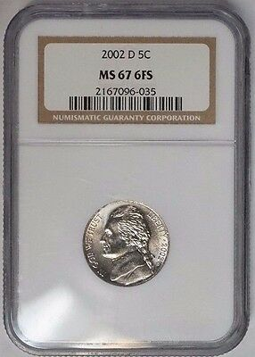2002 D 5C Jefferson Nickel BU NGC MS67 6FS Full Steps Rare Low Pop