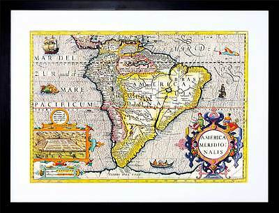 Map Antique South America Brazil Pacific Atlantic Framed Art Print F12X511