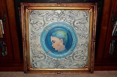 ANTIQUE LATE 1800'S TIN ORNATE FIREPLACE SUMMER COVER HAND PAINTED Mansion Find!