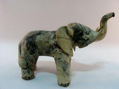 Vintage Paper Mache Elephant Sculpture Figurine Trunk Up