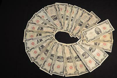 1928-1963 $2 Legal Tender Red Seal 25 Note Lot