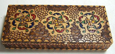 Vintage Hand painted Pyrography Wooden Trinket Box w/Red Velvet Linning