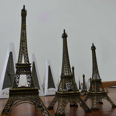 Vintage Bronze Paris Eiffel Tower Figurine Statue Model Souvenir Table Decor Gif