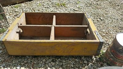 Vintage Wood Coca Cola Coke Advertising Crate Yellow & Red Lettering