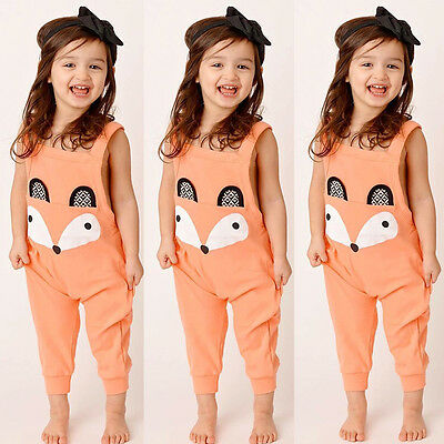 New Fashion Baby Kids Girl Jumpsuit Romper Fox Jumpers Bodysuit Clothes Outfit