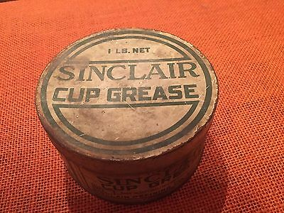 Vintage Sinclair Gasoline & Motor Oil Striped Grease Cup 1 Pound Can