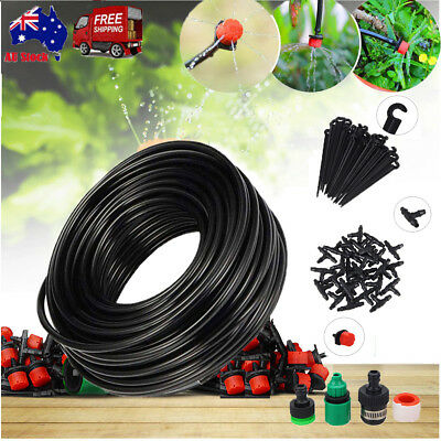25m 30 Drippers DIY Plant Self  Water Garden Hose Micro Drip Irrigation System