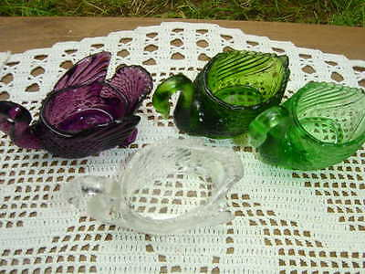 4 Vintage Swan Salts~ 2 Green by Imperial and 1 Cambridge Purple & Clear Glass