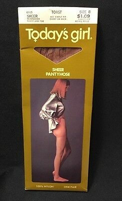Vintage Today's Girl Pantyhose Toast Sheer Reinforced Panty Toe Size B New