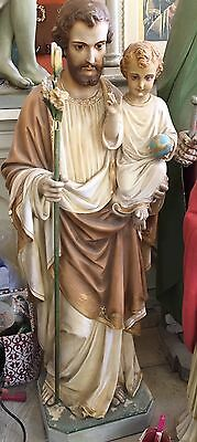 Religious Antique St. Joseph with Christ Child / glass eyes