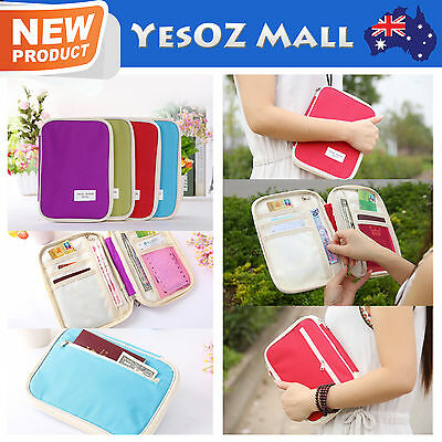Travel Passport Holder Ticket Credit Card Case Wallet Document Organiser Bag NEW